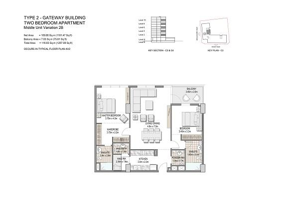 Two Bedroom Apartment Type 2 Gateway Building Middle Unit Variation 28