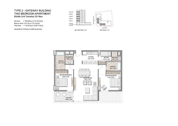 Two Bedroom Apartment Type 2 Gateway Building Middle Unit Variation 2a New