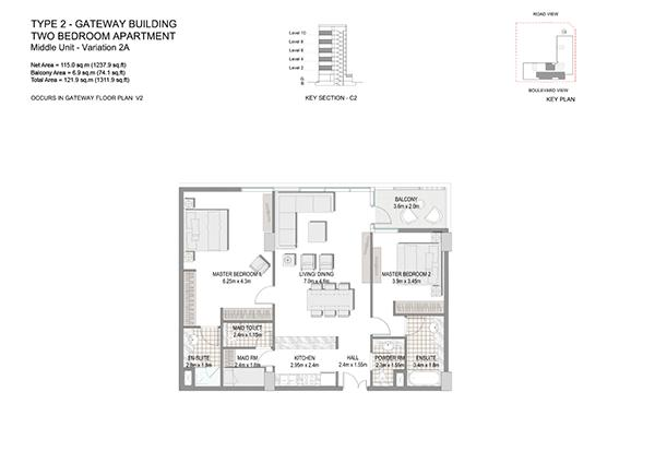Two Bedroom Apartment Type 2 Gateway Building Middle Unit Variation 2a