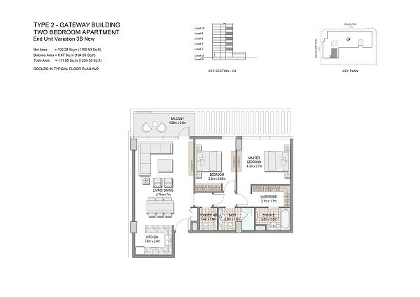 Two Bedroom Apartment Type 2 Gateway Building Middle Unit Variation 3b New