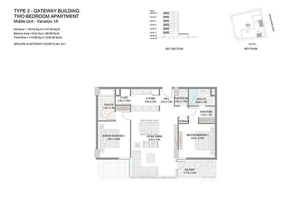 Two Bedroom Apartment Type 2 Gateway Building Variation 1a 2
