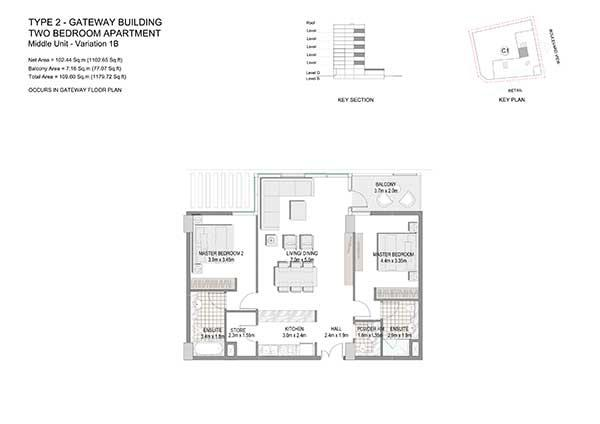 Two Bedroom Apartment Type 2 Gateway Building Variation 1b 2