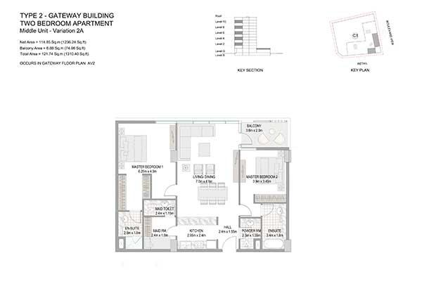 Two Bedroom Apartment Type 2 Gateway Building Variation 2a 2