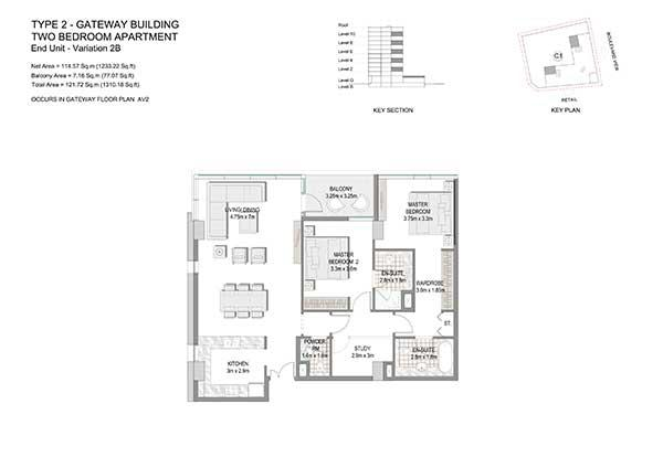 Two Bedroom Apartment Type 2 Gateway Building Variation 2b 2