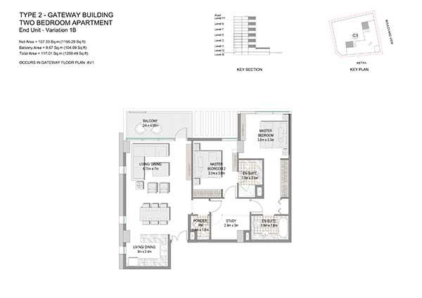 Two Bedroom Apartment Type 2 Gateway Building End Unit Variation 1b 2