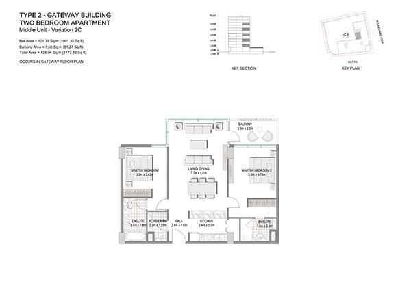 Two Bedroom Apartment Type 2 Gateway Building Variation 2c 2