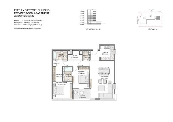 Two Bedroom Apartments Type 2 Gateway Building End Unit Variation 2b