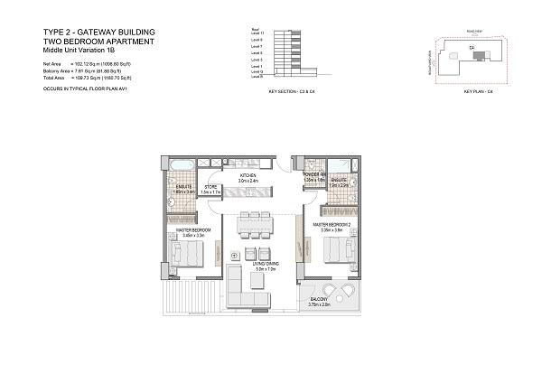 Two Bedroom Apartments Type 2 Gateway Building Middle Unit Variation 1b