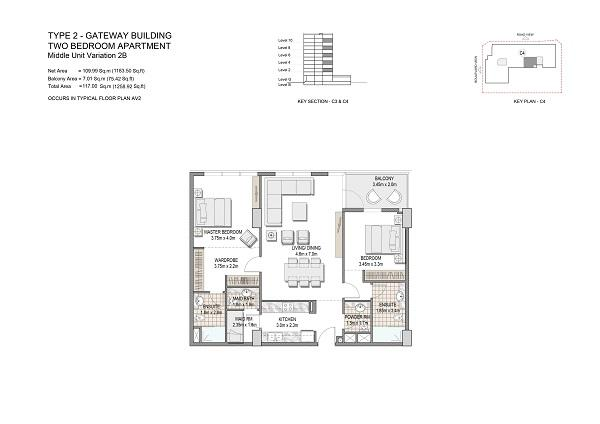 Two Bedroom Apartments Type 2 Gateway Building Middle Unit Variation 2b