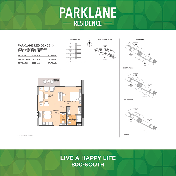 Parklane Residence 3 One Bedroom Apartment Type C Corner Unit