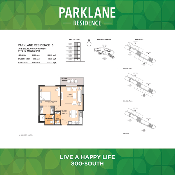 Parklane Residence 3 One Bedroom Apartment Type D Middle Unit