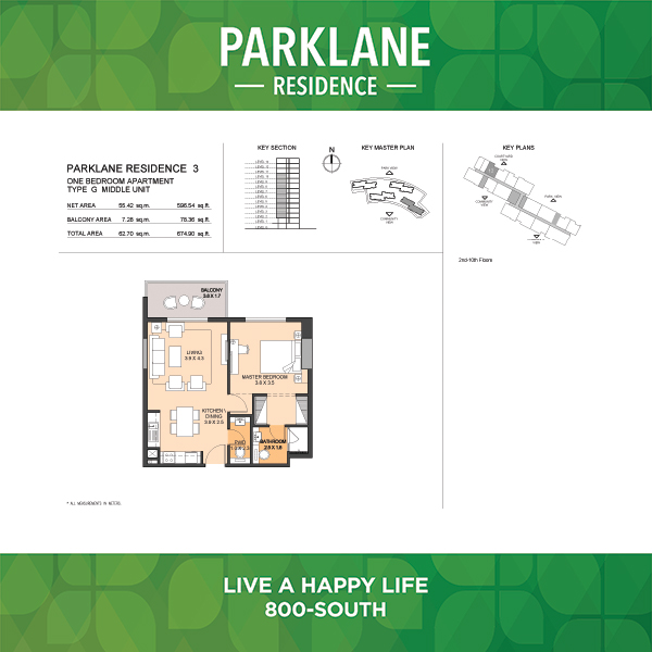 Parklane Residence 3 One Bedroom Apartment Type G Middle Unit