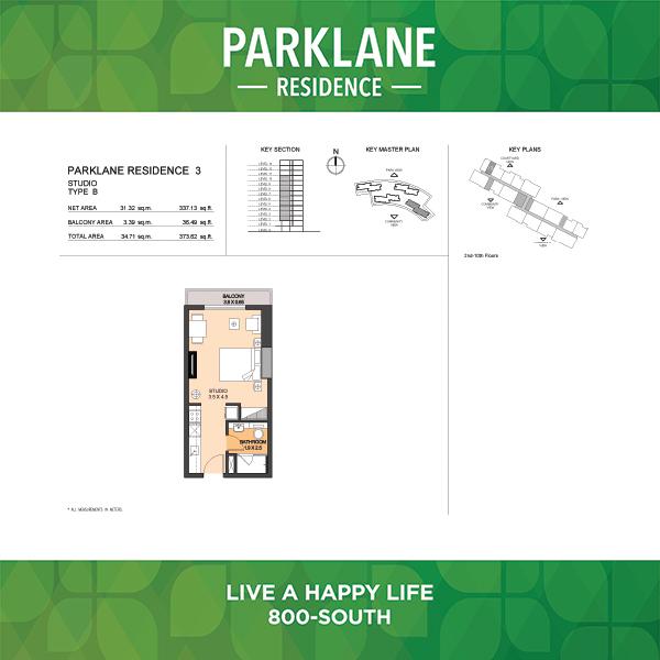 Parklane Residence 3 Studio Type B