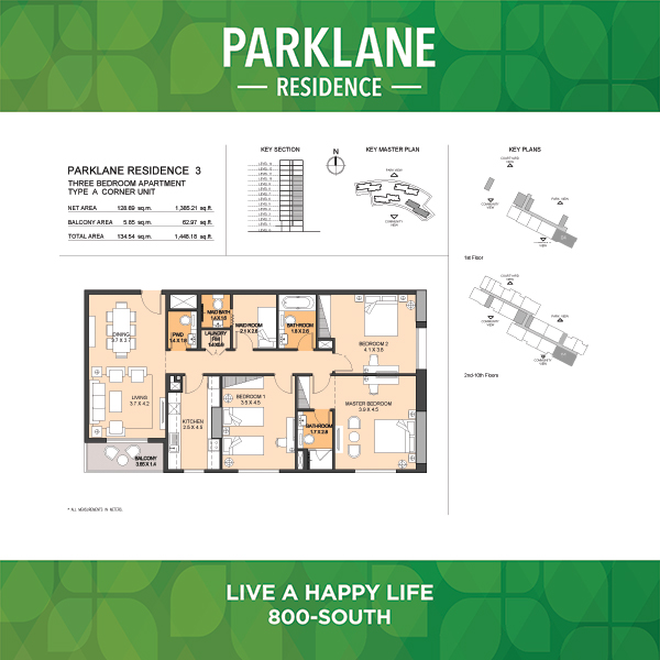 Parklane Residence 3 Three Bedroom Apartment Type A Corner Unit