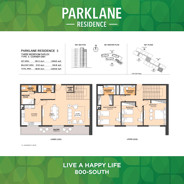 Parklane Residence 3 Three Bedroom Duplex Type A Corner Unit