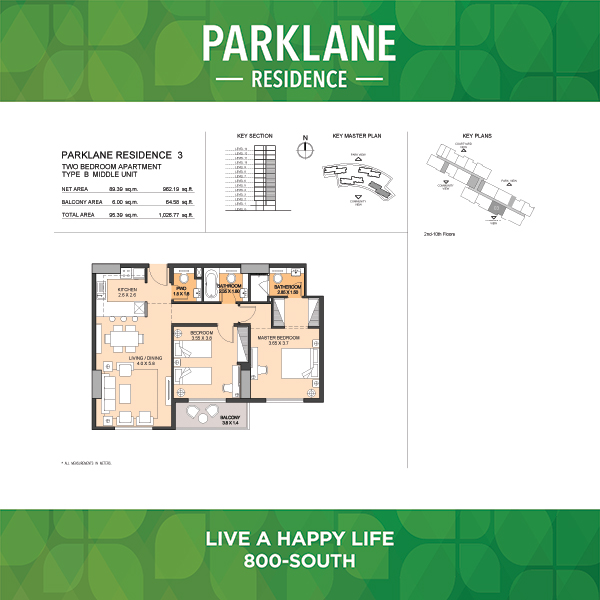 Parklane Residence 3 Two Bedroom Apartment Type B Middle Unit