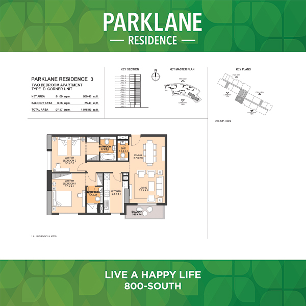 Parklane Residence 3 Two Bedroom Apartment Type D Corner Unit