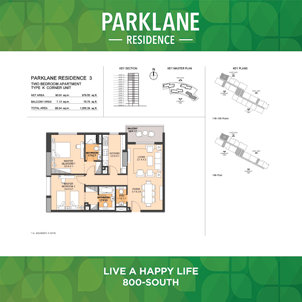 Parklane Residence 3 Two Bedroom Apartment Type K Corner Unit