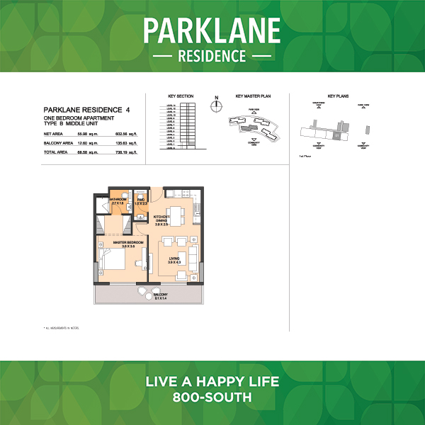 Parklane Residence 4 One Bedroom Apartment Type B Middle Unit
