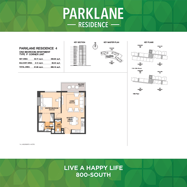 Parklane Residence 4 One Bedroom Apartment Type P Corner Unit