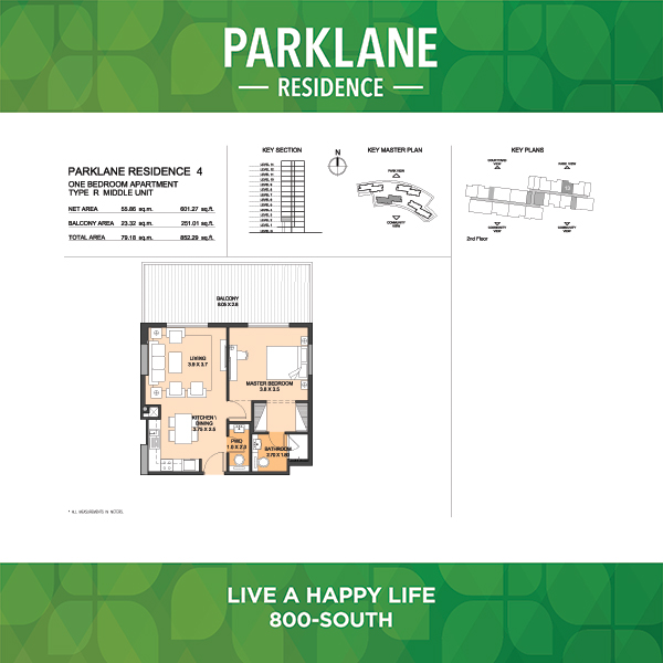 Parklane Residence 4 One Bedroom Apartment Type R Middle Unit