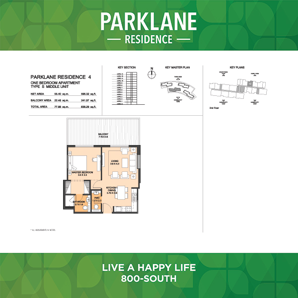 Parklane Residence 4 One Bedroom Apartment Type S Middle Unit