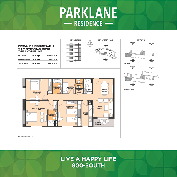 Parklane Residence 4 Three Bedroom Apartment Type A Corner Unit