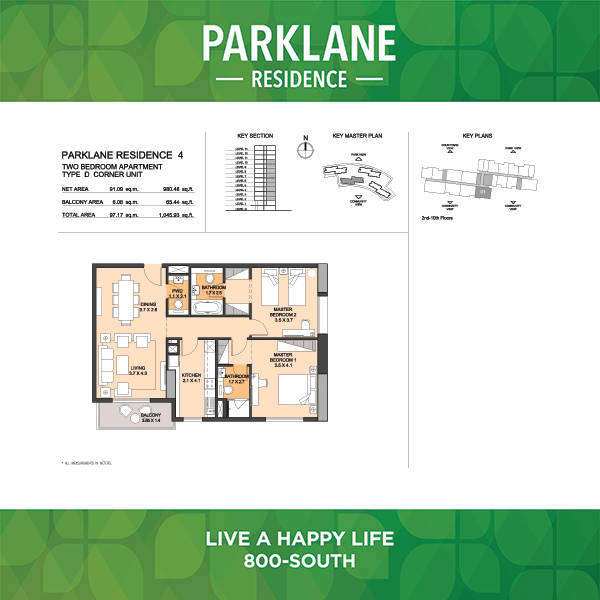 Parklane Residence 4 Two Bedroom Apartment Type D Corner Unit